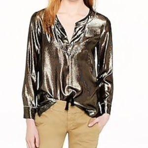 J. Crew Gold Silk Metallic Tunic {NWOT} Size 14